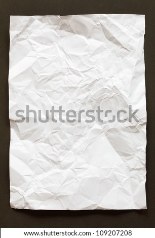 crimp White Paper texture sheet background brown - stock photo
