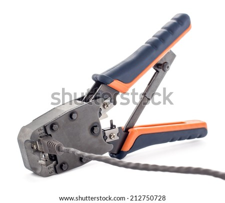 Crimping tool for twisted pair on a white background, isolated - stock photo