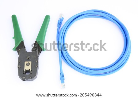 Crimping tool with connector jack Isolated on white - stock photo