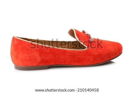 Crimson suede  women shoe isolated on white background. - stock photo