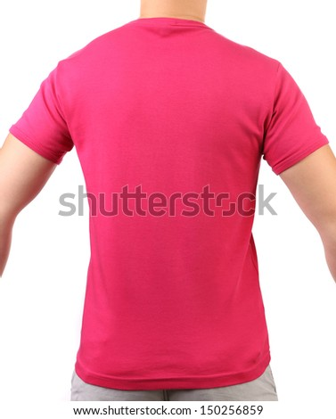 Crimson T-shirt on a body. Back.