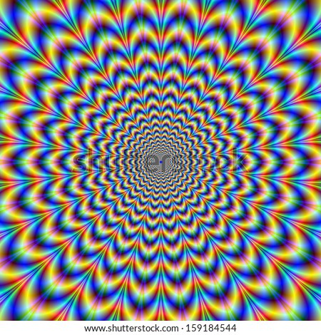 Crinkle Cut Psychedelic Pulse / Digital abstract fractal image with an optically challenging design in blue, yellow, red and green. - stock photo