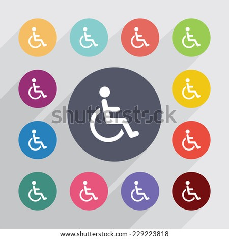 cripple sign, flat icons set. Round colourful buttons - stock photo