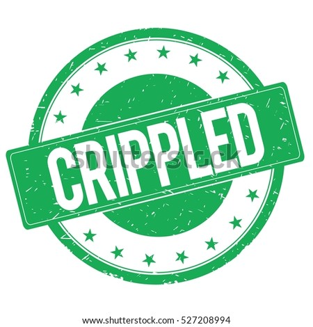 CRIPPLED stamp sign text word logo green.