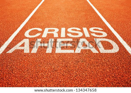Crisis ahead message on athletics running track