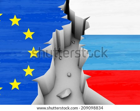 Crisis between EU and Russia.  - stock photo