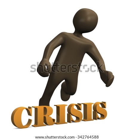Crisis, brown manikin on white background 3D rendering - stock photo