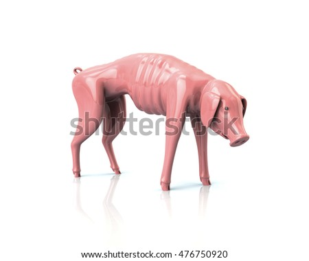Crisis Concept. 3d illustration of poor piggy bank isolated on white