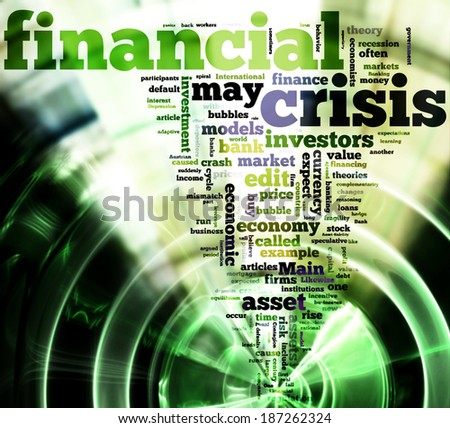 Crisis concept in word tag cloud on black background - stock photo
