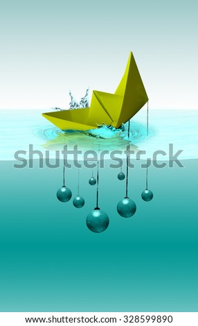 Crisis concept, sinking paper ship with wrecking ball - stock photo