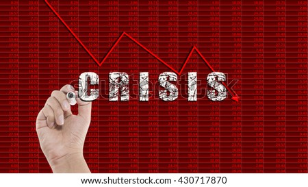 Crisis concept with arrows graph tending downwards - stock photo