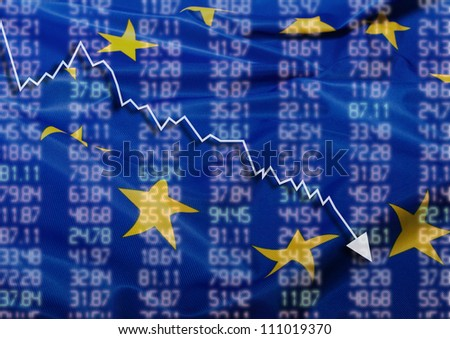 Crisis in Europe - Shares Fall Graph on European Union Flag - stock photo