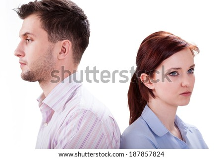 Crisis in the relationship between two young lovers - stock photo