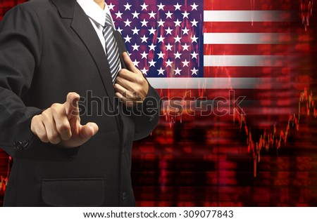 Crisis in USA - Shares Fall Graph on United States of America Flag with Business man pushing on a touch screen interface analyze solution ideas concept design