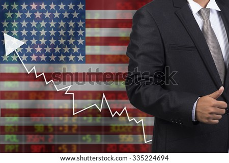 Crisis in USA - Shares Fall Graph on United States of America Flag with Business man pushing on a touch screen interface analyze solution ideas concept design - stock photo