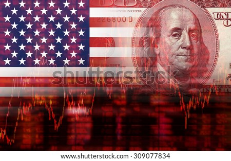Crisis in USA - Shares Fall Graph on United States of America Flag with Face of Benjamin Franklin from one hundred dollars bill - stock photo