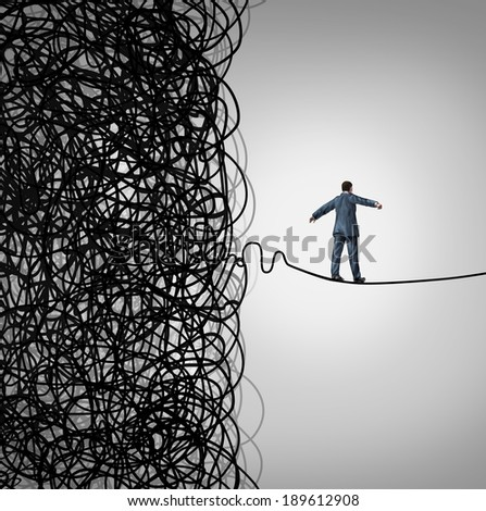 Crisis Management business concept as a tightrope walker walking out of a confused tangled chaos of wires breaking free to a clear path of risk opportunity as a metaphor for managing organizations. - stock photo