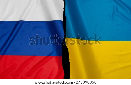 Crisis - Russian Flag and Ukrainian Flag - stock photo