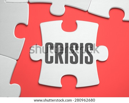 Crisis - Text on Puzzle on the Place of Missing Pieces. Scarlett Background. Close-up. 3d Illustration. - stock photo