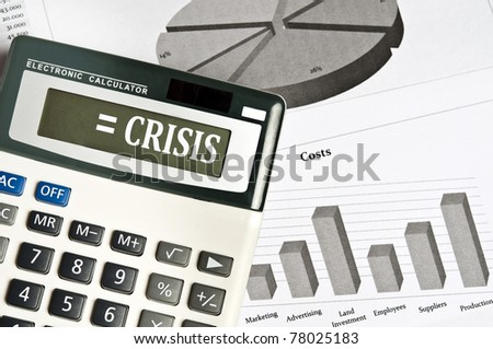 Crisis word on electronic calculator