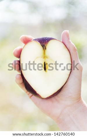 Crisp ripe apple in the shape of a healthy heart held in a woman's hand. - stock photo