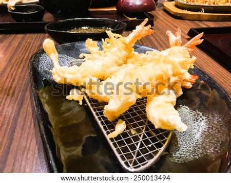 Crisp Tempura shrimp - stock photo
