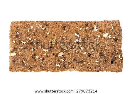 Crispbread with a variety of seeds. Isolated on white background.  - stock photo