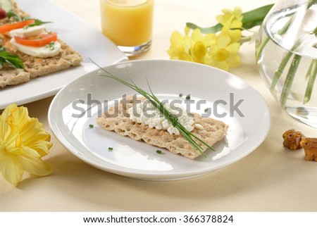 crispbread with cottage cheese and chive - stock photo