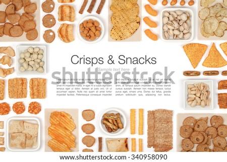 crisps and snacks on white background  - stock photo