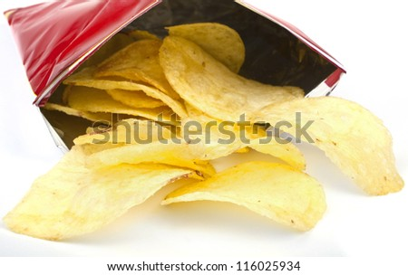 Crisps/chips falling out of the packet. - stock photo