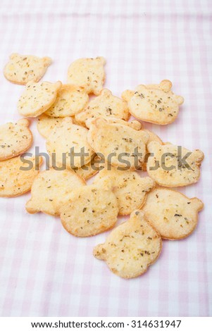 Crispy bread garlic, sweet background