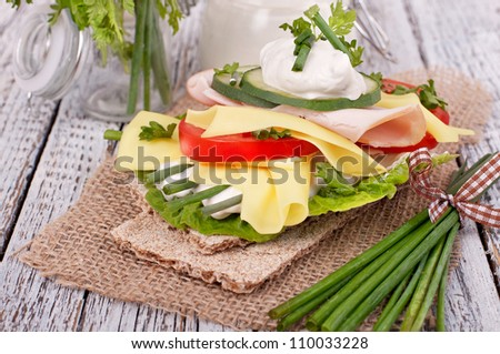crispy bread sandwiches with organic vegetable and cheese, healthy eating food, - stock photo