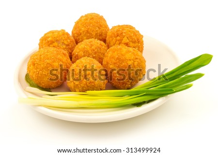 Crispy cheese balls with green onion on the plate isolated on white background - stock photo
