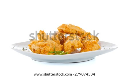 Crispy chicken breast fried in crumbs and eggs. - stock photo