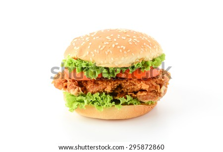 crispy chicken burger on white background