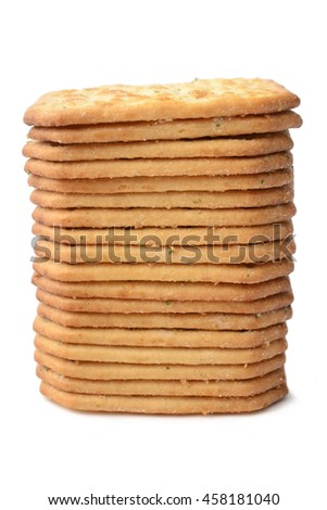 crispy crackers with spices isolated on a white background