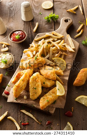 Crispy Fish and Chips - stock photo