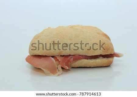 Crispy fresh sandwich with air dried ham