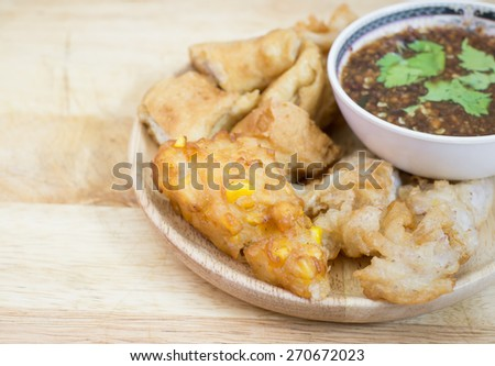 Crispy fried corn ball and fried taro,Vegetarian food, selection focus point