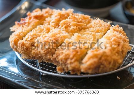 Crispy fried pork, tonkatsu , Japanese food - stock photo