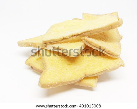 Crispy garlic bread isolated on white background