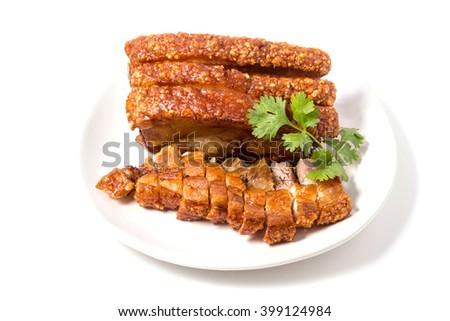 Crispy Pork Belly ,crispy roasted pork  - stock photo