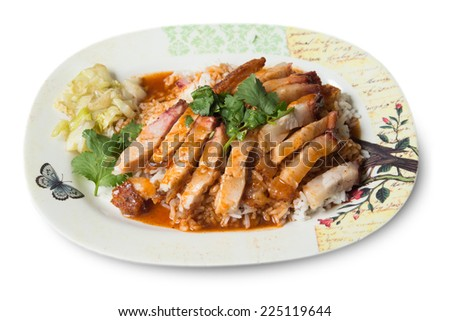Crispy pork with rice on white background