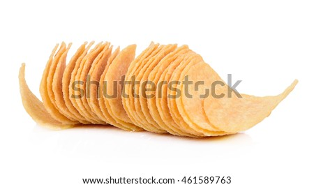 crispy potato chips isolated on white background