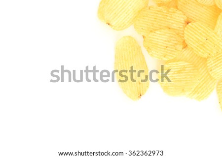 crispy potato chips junk food unhealthy food on white background