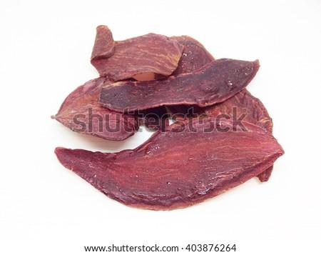 Crispy purple sweet potato isolated on white background - stock photo