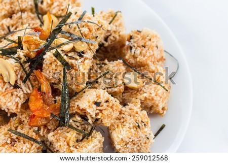 Crispy rice cracker , Thai food - stock photo