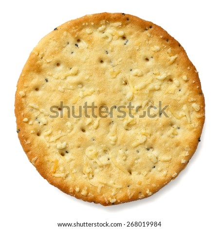 Crispy round cheese cracker from above. - stock photo