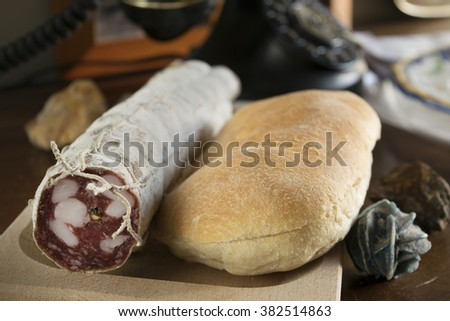 crispy sandwich and milan salami for a filled roll