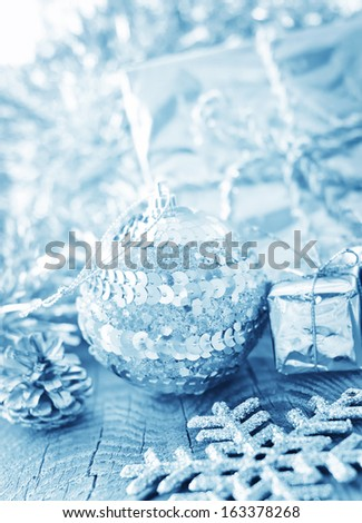cristmas decoration on the wooden board - stock photo
